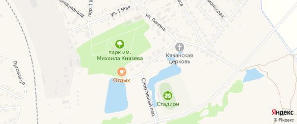 Спортивный переулок на карте поселка Навли Брянской области с номерами домов