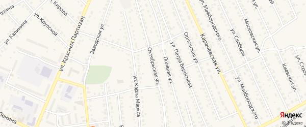 Октябрьская улица на карте поселка Навли Брянской области с номерами домов
