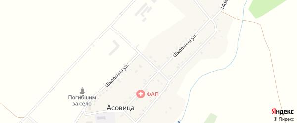 Школьная улица на карте села Асовицы с номерами домов