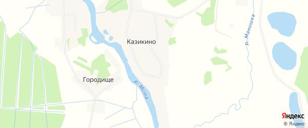Карта деревни Казикино города Удомли в Тверской области с улицами и номерами домов
