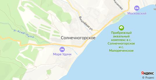 Карта села Солнечногорское в Алуште с улицами, домами и почтовыми отделениями со спутника онлайн