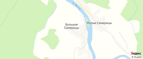 Карта деревни Большие Семерицы в Новгородской области с улицами и номерами домов