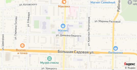 Улица Демьяна Бедного в Вышнем Волочке с номерами домов на карте. Спутник и схема онлайн