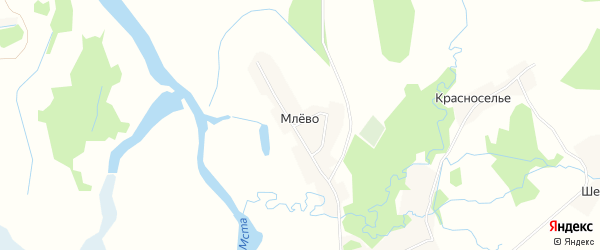 Карта деревни Млево города Удомли в Тверской области с улицами и номерами домов