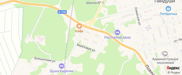 Клубный переулок на карте поселка Пиндуши Карелии с номерами домов