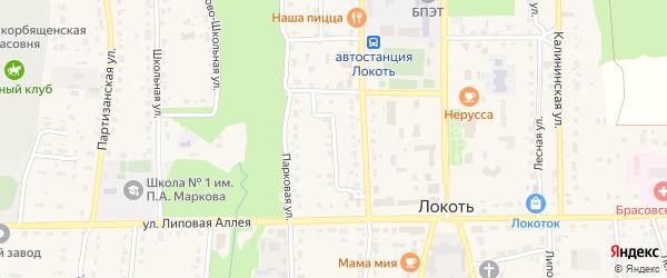 Базарный переулок на карте поселка Локтя Брянской области с номерами домов
