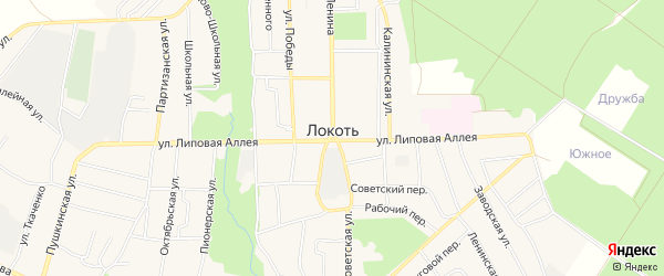 Карта поселка Локтя в Брянской области с улицами и номерами домов