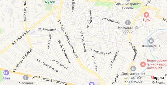Переулок Островского в Белогорске с номерами домов на карте. Спутник и схема онлайн