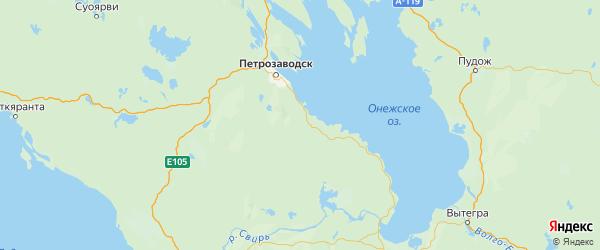 Карта Прионежского района Республики Карелии с городами и населенными пунктами