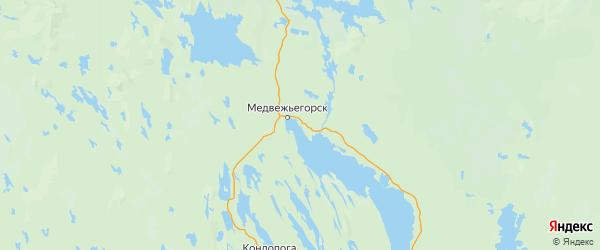 Карта Медвежьегорского района Республики Карелии с городами и населенными пунктами
