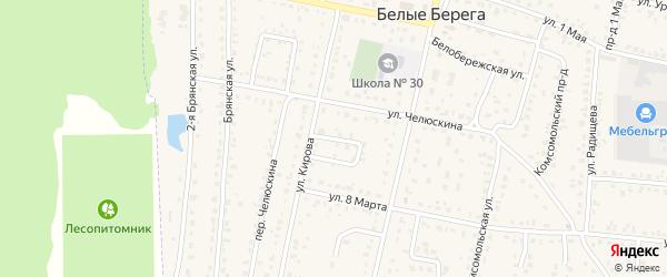 Проезд Кирова на карте поселка Белые Берега с номерами домов