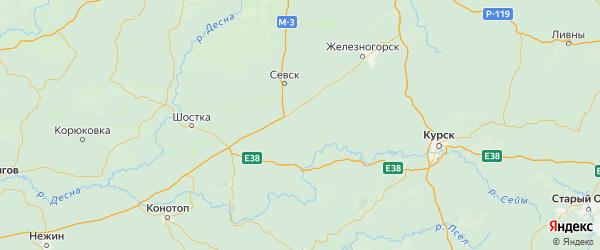 Карта Хомутовского района Курской области с городами и населенными пунктами