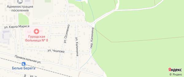 Переулок Калинина на карте поселка Белые Берега с номерами домов