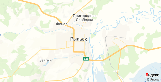 Карта Рыльска с улицами и домами подробная. Показать со спутника номера домов онлайн