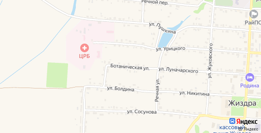 Ботаническая улица в Жиздре с номерами домов на карте. Спутник и схема онлайн