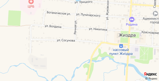 Улица Сосунова в Жиздре с номерами домов на карте. Спутник и схема онлайн