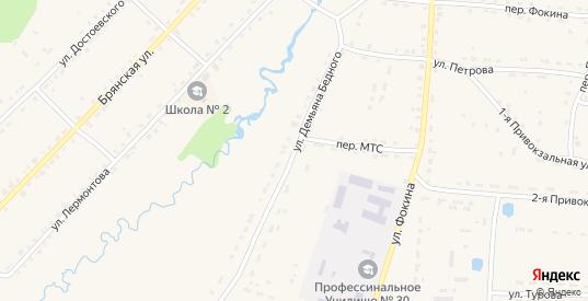 Улица Демьяна Бедного в Жиздре с номерами домов на карте. Спутник и схема онлайн