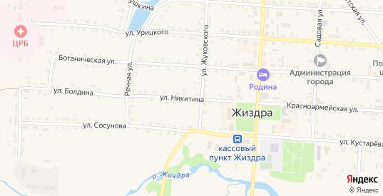 Улица Никитина в Жиздре с номерами домов на карте. Спутник и схема онлайн