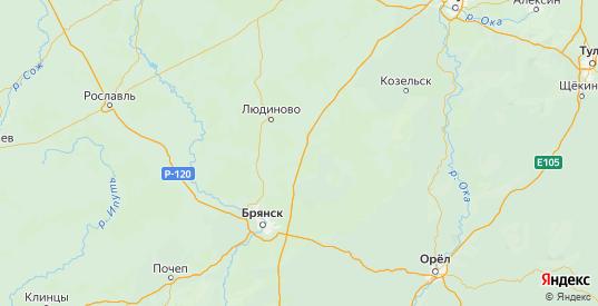 Карта Жиздринского района Калужской области с городами и населенными пунктами