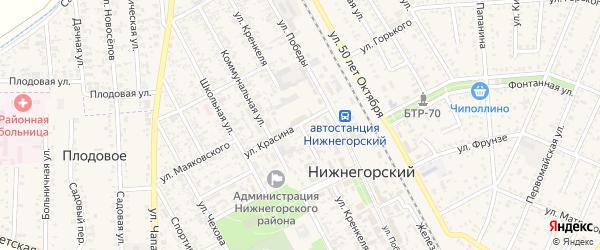 Улица Кренкеля на карте Нижнегорского поселка Крыма с номерами домов