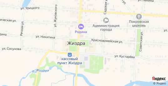 Площадь Коммуны в Жиздре с номерами домов на карте. Спутник и схема онлайн