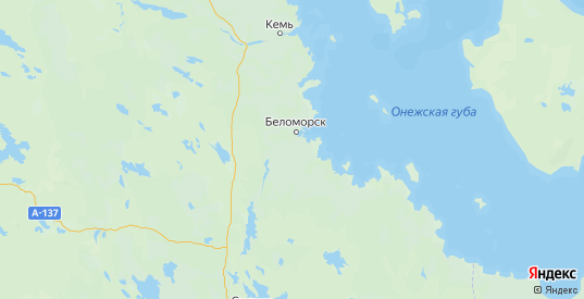 Карта Беломорского района республики Карелия с городами и населенными пунктами