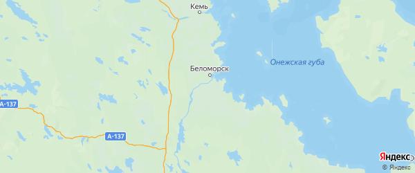 Карта Беломорского района Республики Карелии с городами и населенными пунктами