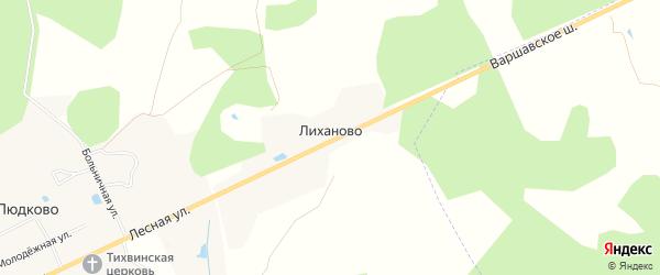Карта деревни Лиханово в Калужской области с улицами и номерами домов