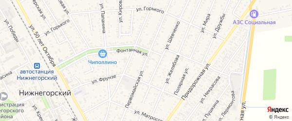 Первомайская улица на карте Нижнегорского поселка Крыма с номерами домов