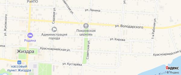 Улица Кирова на карте Жиздры с номерами домов