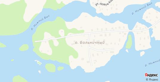 Больничный остров в Беломорске с номерами домов на карте. Спутник и схема онлайн