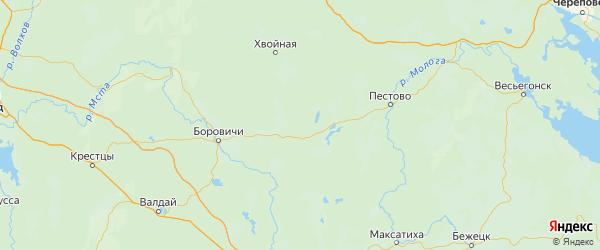 Карта Мошенской района Новгородской области с городами и населенными пунктами