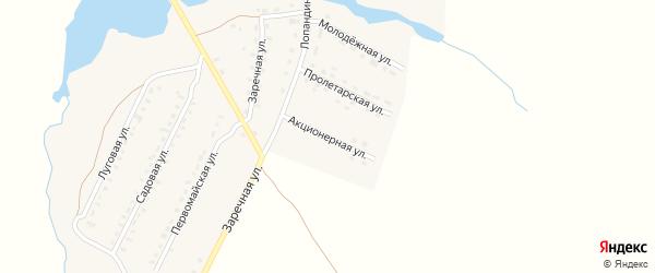 Акционерная улица на карте поселка Лопандино с номерами домов
