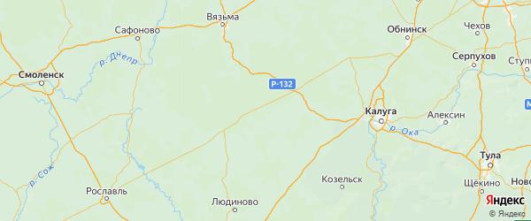 Карта Мосальского района Калужской области с городами и населенными пунктами
