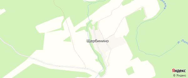 Карта деревни Щербинино в Калужской области с улицами и номерами домов