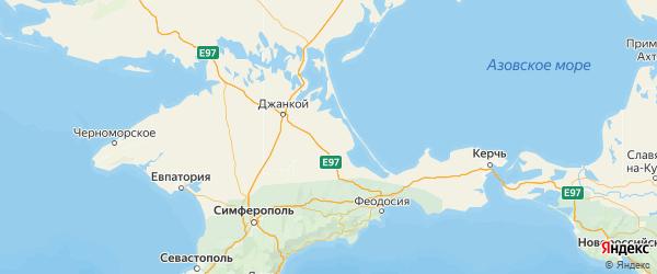 Карта Нижнегорского района Республики Крыма с городами и населенными пунктами