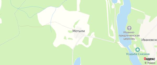 Карта деревни Мотылей города Удомли в Тверской области с улицами и номерами домов