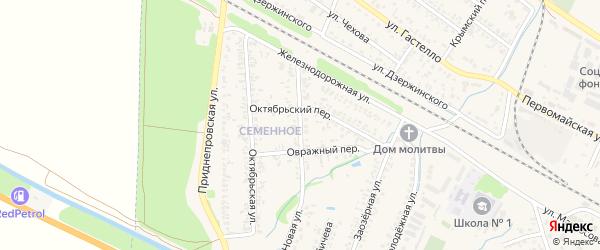 Овражная улица на карте Советского поселка Крыма с номерами домов