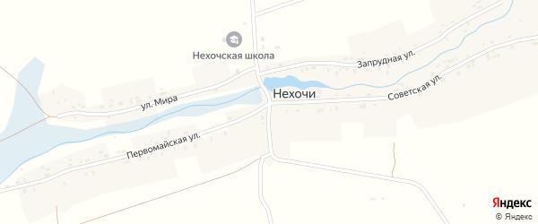 Центральная улица на карте деревни Нехочи Калужской области с номерами домов