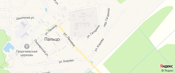 Улица Гагарина на карте поселка Пальца с номерами домов