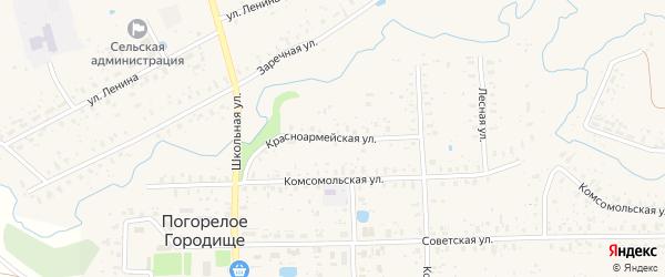 Красноармейская улица на карте села Погорелого Городища Тверской области с номерами домов