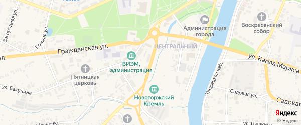 Кузнечная улица на карте Торжка с номерами домов