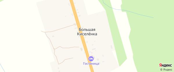 Зеленая улица на карте деревни Большей Киселенки Тверской области с номерами домов