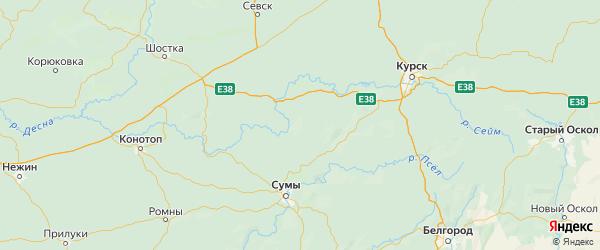 Карта Кореневского района Курской области с городами и населенными пунктами