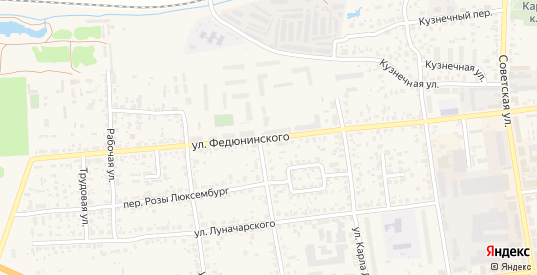 Улица Федюнинского в Карачеве с номерами домов на карте. Спутник и схема онлайн