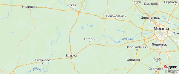 Карта Гагаринского района Смоленской области с городами и населенными пунктами