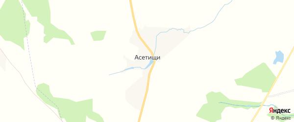 Карта деревни Асетищи в Калужской области с улицами и номерами домов