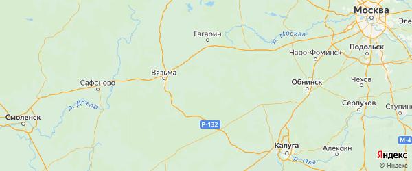 Карта Темкинского района Смоленской области с городами и населенными пунктами