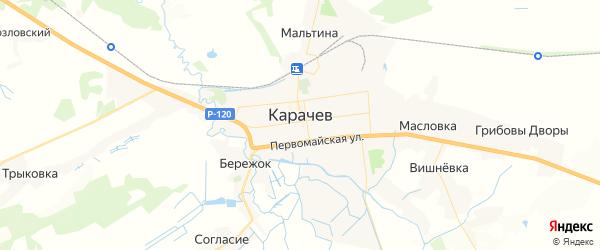 Карта Карачева с районами, улицами и номерами домов