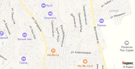 Каштановая улица в Судаке с номерами домов на карте. Спутник и схема онлайн